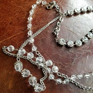 Jewelry - Long crystals and jewels necklace silver tone